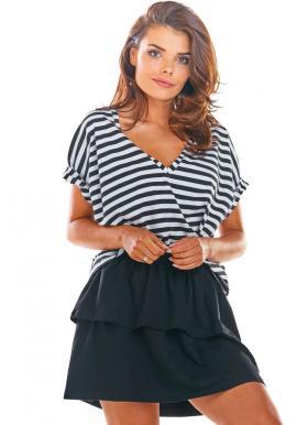 Čierna krátka sukňa s volánmi pre dámy