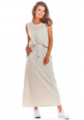 Dámska dlhá sukňa na leto v béžovo-bielej farbe