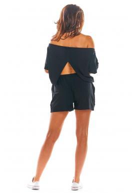Čierny letný overal s odhaleným chrbtom pre dámy