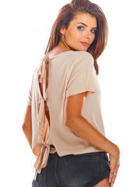 Béžová módna blúzka s viazaním na chrbte pre dámy