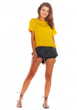 Módna dámska blúzka žltej farby s viazaním na chrbte