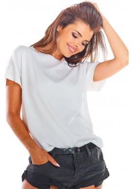 Biela módna blúzka s viazaním na chrbte pre dámy