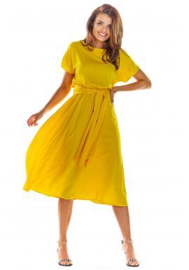 Elegantné dámske šaty žltej farby na leto