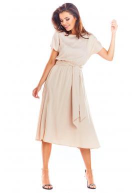 Dámske elegantné šaty na leto v béžovej farbe