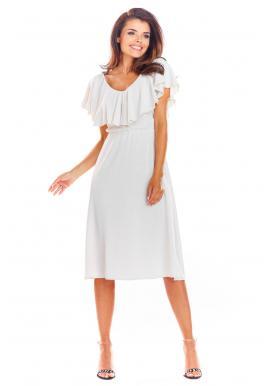Béžové elegantné šaty s volánom pre dámy