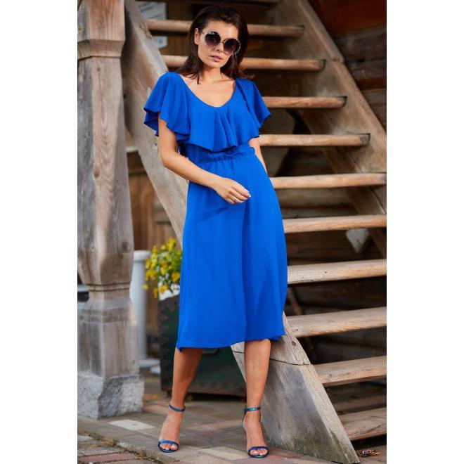 Dámske elegantné šaty s volánom v modrej farbe