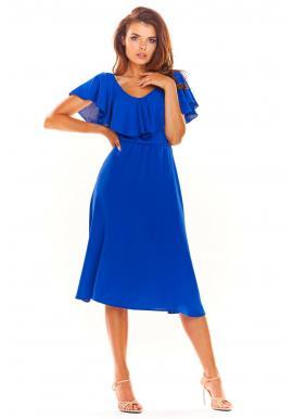 826f76327 Dámske elegantné šaty s volánom v modrej farbe ...