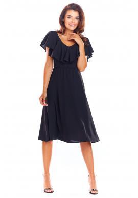 c5a9a62ae Elegantné dámske šaty čiernej farby s volánom ...