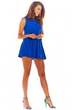Letný dámsky overal modrej farby s mini sukňou