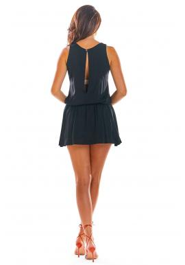 Dámsky letný overal s mini sukňou v čiernej farbe