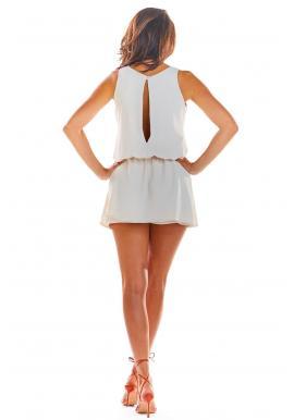 Béžový letný overal s mini sukňou pre dámy