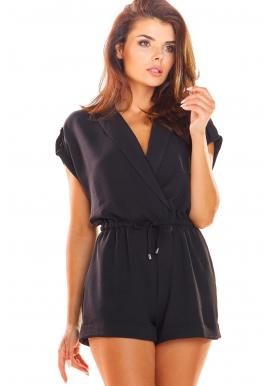 Čierny elegantný overal na leto pre dámy
