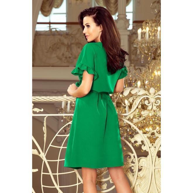Zelené pohodlné šaty s volánmi na rukávoch pre dámy