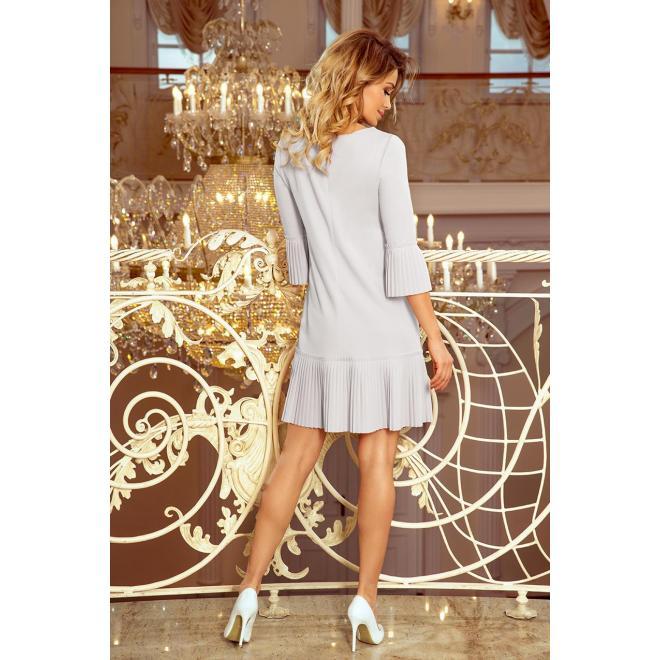 Dámske pohodlné šaty s plisovanými prvkami v sivej farbe