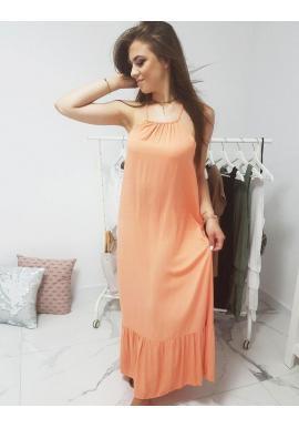 Dlhé dámske šaty oranžovej farby na ramienka