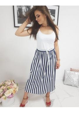Dámske dlhé šaty s pásikmi v bielej farbe