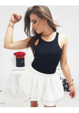 Rebrované dámske tričko čiernej farby