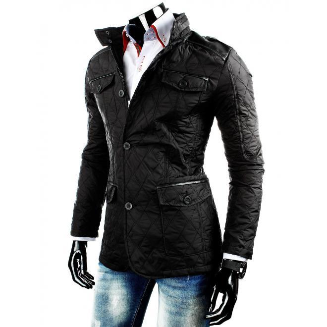Čierna prešívaná bunda na prechodné obdobie pre pánov
