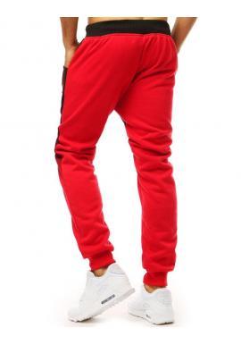 Pánske ombré tepláky s potlačou v červenej farbe