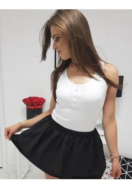 Rebrované dámske tričko bielej farby na ramienka