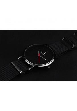 Pánske módne hodinky na textilnom remienku v čiernej farbe