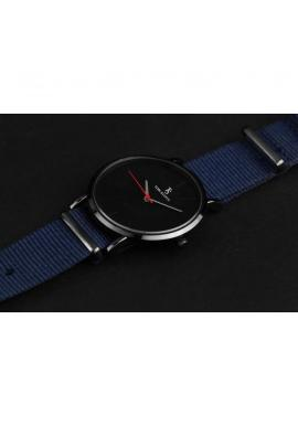 Tmavomodré módne hodinky na textilnom remienku pre pánov