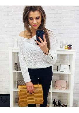 Štýlový dámsky sveter bielej farby s ozdobnými gombíkmi