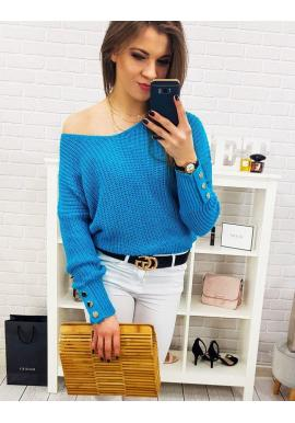 Tyrkysový štýlový sveter s ozdobnými gombíkmi pre dámy