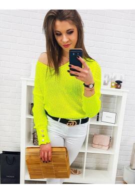 Dámsky štýlový sveter s ozdobnými gombíkmi v žltej farbe