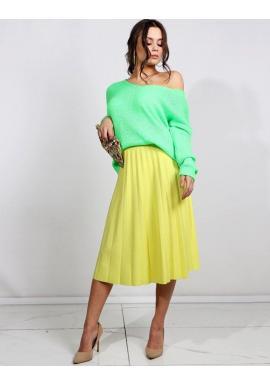 Dámsky módny sveter s výstrihom v tvare V v neónovo zelenej farbe
