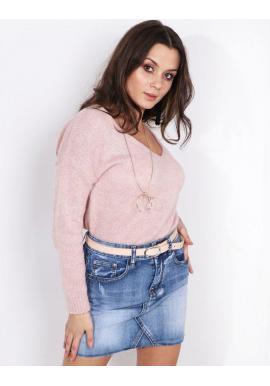 Módny dámsky sveter pastelovo ružovej farby s výstrihom v tvare V