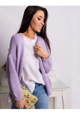 Fialový klasický sveter bez zapínania pre dámy