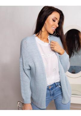 Dámsky klasický sveter bez zapínania v svetlomodrej farbe