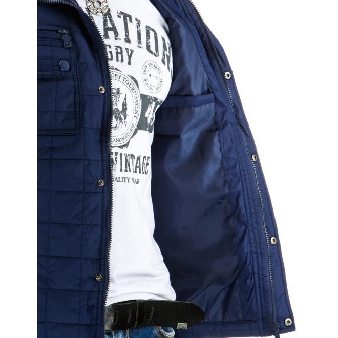 Pánska prechodná bunda tmavomodrej farby s aplikáciami z ekokože