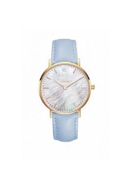 Klasické dámske hodinky modrej farby na koženom remienku