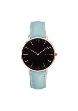 Dámske klasické hodinky s čiernym ciferníkom v modrej farbe