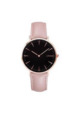 Klasické dámske hodinky ružovej farby s čiernym ciferníkom