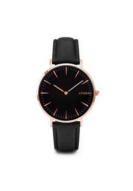 Dámske klasické hodinky s čiernym ciferníkom v čiernej farbe