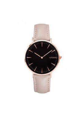 Béžové klasické hodinky s čiernym ciferníkom pre dámy