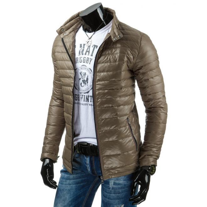 Prešívaná pánska bunda na prechodné obdobie béžovej farby