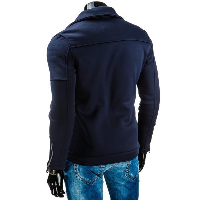 Prechodná bunda v tmavomodrej farbe s asymetrickým zipsom