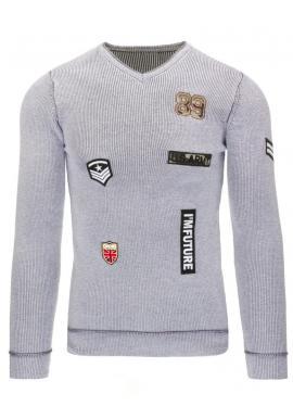 Pánsky čierny sveter s výstrihom V a s ozdobnými nášivkami