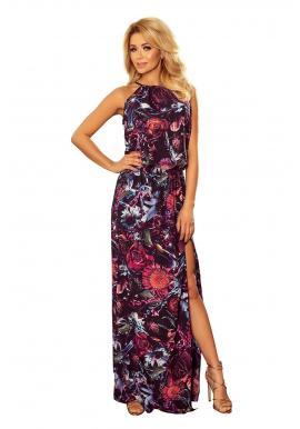 Dámske dlhé šaty s kvetmi vo fialovej farbe v akcii
