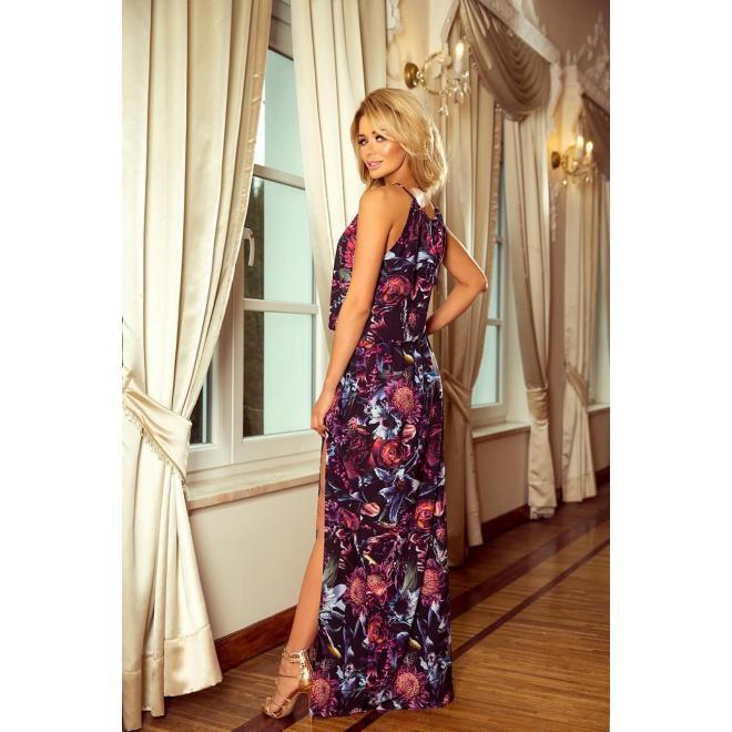 Dámske dlhé šaty s kvetmi vo fialovej farbe