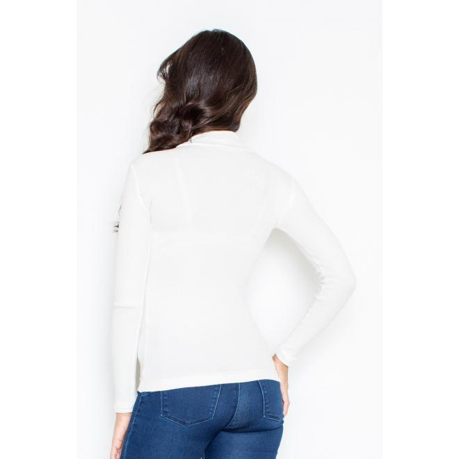 Biely bavlnený rolák s dlhým rukávom pre dámy