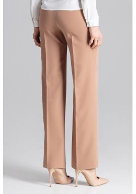 Dámske široké nohavice bez vreciek v hnedej farbe