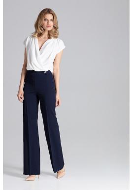 Široké dámske nohavice tmavomodrej farby bez vreciek