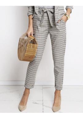 Farebné kockované dámske nohavice s mašľou