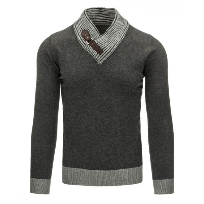 Pánsky sivý sveter s výstrihom V a s prackou
