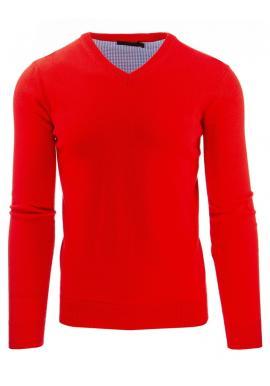 Červený pánsky sveter s výstrihom V